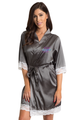Zynotti's Personalized embroidered Overlay Name Design Lace Robe in Charcoal