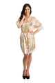 Zynotti's Personalized embroidered Overlay Name Design Lace Robe in Champagne