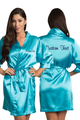 Zynotti's Personalized Embroidered Front and Back Satin Robe in Maui Blue