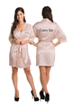 Zynotti's Personalized Embroidered Front and Back Satin Robe in Blush