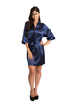 Zynotti's Personalized Embroidered Front Satin Robe in Navy