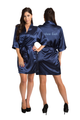 Zynotti's Personalized Embroidered Front and Back Satin Robe in Navy