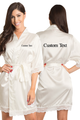 Zynotti's Personalized Embroidered Front and Back Satin Robe in Ivory