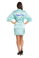 Zynotti's Personalized Embroidered Back Satin Robe in Aqua