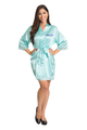 Zynotti's Personalized Embroidered Front Satin Robe in Aqua