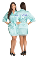 Zynotti's Personalized Embroidered Front and Back Satin Robe in Aqua