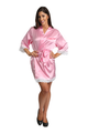 Zynotti's Personalized Embroidered Front Satin Robe in Pink