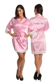 Zynotti's Personalized Embroidered Front and Back Satin Robe in Pink