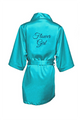 Zynotti's Flower Girl Robe with Glitter Print -  Maui Blue