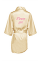 Zynotti's Flower Girl Robe with Glitter Print - Champagne