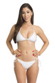 Zynotti classic triangle string tie white bikini set. Perfect vacation white swimwear. Light, comfortable, and durable white swimsuit.