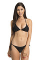 Zynotti classic triangle string tie black bikini set with black lace. Perfect vacation white swimwear. Light, comfortable, and durable black swimsuit.