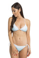 Zynotti classic triangle string tie light blue bikini set with white lace. Perfect vacation white swimwear. Light, comfortable, and durable light blue swimsuit.