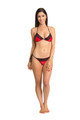 Zynotti classic triangle string tie red bikini set with black lace. Perfect vacation white swimwear. Light, comfortable, and durable red swimsuit.