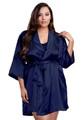 Zynotti plus size wedding getting ready bridal party kimono navy dark blue satin robe