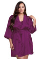 Zynotti plus size wedding getting ready bridal party kimono eggplant plum satin robe for bridesmaid, maid of honor, mother of the bride, mother of the groom, matron of honor