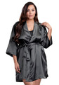 Zynotti plus size wedding getting ready bridal party kimono charcoal grey gray satin robe for bride, bridesmaids, maid of honor, matron of honor, mother of the bride and mother of groom