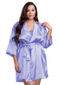 Zynotti plus size wedding getting ready bridal party kimono lavender purple satin robe for bride, bridesmaids, maid of honor, matron of honor, mother of the bride and mother of groom