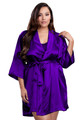 Zynotti plus size wedding getting ready bridal party kimono purple satin robe for bride, bridesmaids, maid of honor, matron of honor, mother of the bride and mother of groom