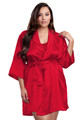 Zynotti plus size wedding getting ready bridal party kimono red satin robe for bride, bridesmaids, maid of honor, matron of honor, mother of the bride and mother of groom