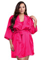 Zynotti plus size wedding getting ready bridal party kimono hot pink dark pink satin robe for bride, bridesmaids, maid of honor, matron of honor, mother of the bride and mother of groom