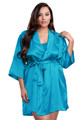 Zynotti plus size wedding getting ready bridal party kimono turquoise blue satin robe for bride, bridesmaids, maid of honor, matron of honor, mother of the bride and mother of groom
