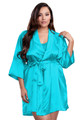 Zynotti plus size wedding getting ready bridal party kimono maui blue satin robe for bride, bridesmaids, maid of honor, matron of honor, mother of the bride and mother of groom