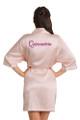 Zynotti custom embroidered quinceanera kimono blush pink satin robe. Bata bordada de quinceanera. Zanotti personalizado bordado quinceañera kimono rubor rosa satinado túnica.
