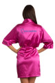 Zynotti custom embroidered quinceanera kimono fuchsia satin robe. Bata bordada de quinceanera.