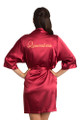 Zynotti custom embroidered quinceanera kimono crimson red satin robe. Bata bordada de quinceanera.