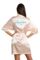 Zynotti custom embroidered quinceanera kimono peach satin robe. Bata bordada de quinceanera.