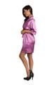 Zynotti custom embroidered quinceanera kimono orchid purple satin robe. Bata bordada de quinceanera. Zynotti personalizado bordado quinceañera kimono orquídea púrpura satinado túnica