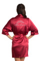 Zynotti rhinestone Crimson Red Satin Robe for Miss Quince