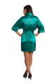 Zynotti Custom Rhinestone Quinceanera with Tiara Teal Green Satin Robe