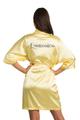 Zynotti custom metallic print quinceanera yellow satin robe