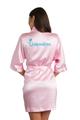 zynotti glitter print quinceanera pink satin robe | bata de quinceanera son rosa