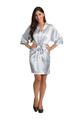 Zynotti silver grey satin robe