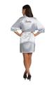 Zynotti glitter print dama silver grey satin robe for quinceanera