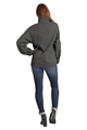 Zynotti Women's Personalized Embroidered Monogram Quarter Zip Black Heather Charcoal Grey Pullover Sweater