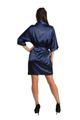 Zynotti Custom Rhinestone Dama Navy Blue Satin Kimono Robe | Bata para Dama de la quincera