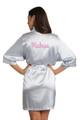 Zynotti Rhinestone Madrina Silver Grey Satin Kimono Robe