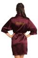 Zynotti Rhinestone Madrina Wine Burgundy Satin Robe