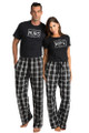 Zynotti Hubs and Wife Black Tee Shirt Top Matching Couple Black and white Flannel Pajama Pants Set