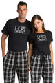 Zynotti Hubs and Wife Black Tee Shirt Top and Bottoms Matching Couple Flannel Pajama Pants Set