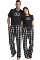 Zynotti Hubs and Wife Matching Couple Flannel All Black Pajama Pant and Top Set