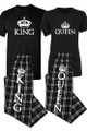 King and Queen Matching Couples T-Shirt Pajama Set