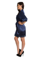 Personalized Rhinestone Navy Robe with Lace