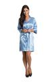 Custom Rhinestone Sky Blue Satin Robe