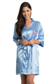 Personalized Embroidered Monogram Sky Blue Robe