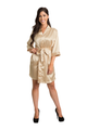 Custom Embroidered Gold Satin Robe